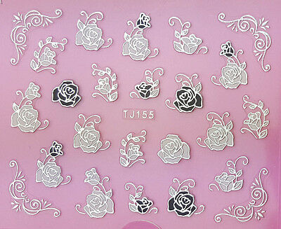 Silver Stroke Black & White Roses 3D Nail Art Sticker Decals UV Gel Manicure
