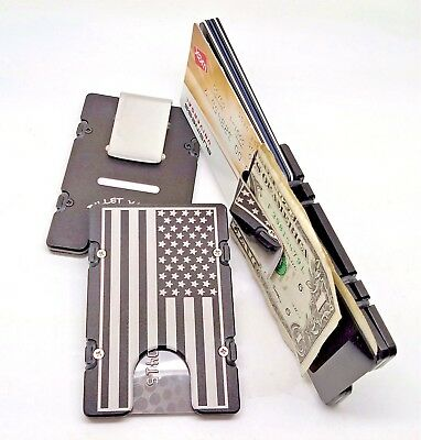 Mens Large American Flag Aluminum Wallet, RFID protection, Black Anodized