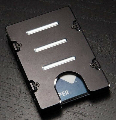 Mens Aluminum Credit Card Holder, Wallet, RFID Protection, Black Anodized
