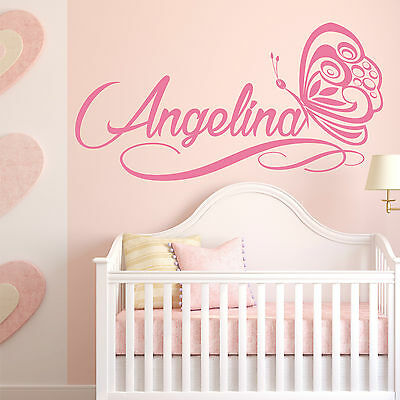 FANCY script personalised name wall sticker with butterfly girls bedroom | NA31