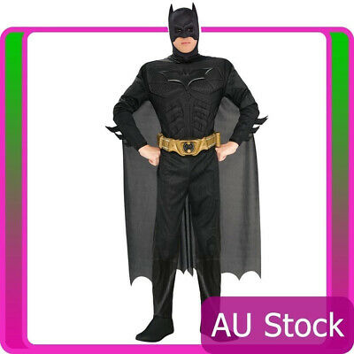 Adult licensed Dark Knight Rises Muscles Batman Halloween Fancy Dress Costume