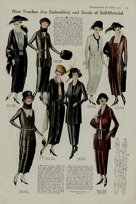 1919 Womans Fashion Page / New Touches Are Embroidery And Bands....