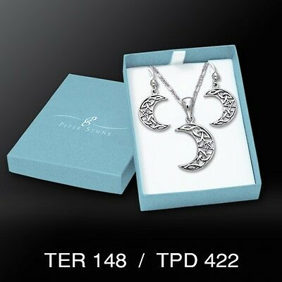 Celtic Knot Pentacle Crescent Moon .925 Sterling Silver Boxed Set Peter Stone