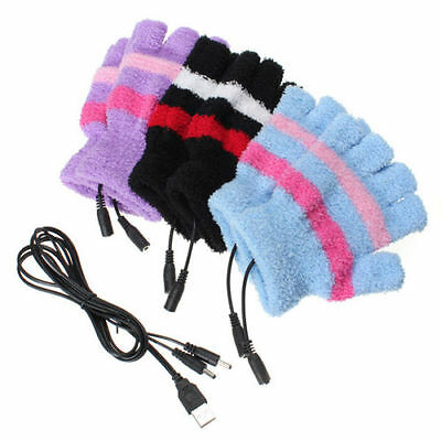 Women USB Heated Gloves Hand Electric Heating PC Laptop Powered  WOW