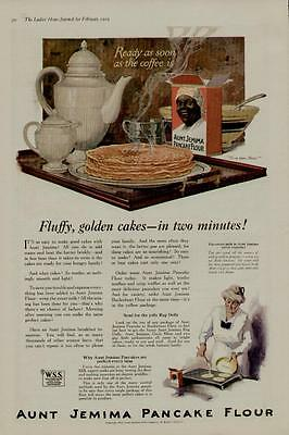 1919 Aunt Jemima Pancake Flour Ad / Fluffy, Golden Cakes - In 2 Minutes....