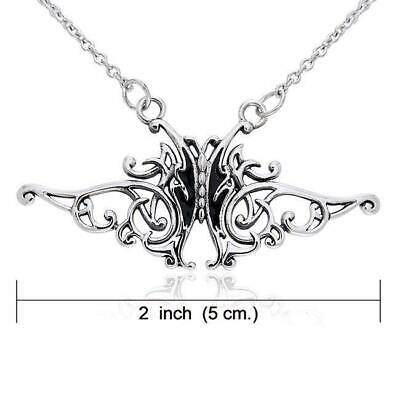 Celtic Knotwork .925 Sterling Silver Butterfly Necklace by Peter Stone