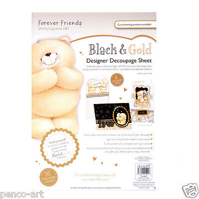 Docrafts Forever friends bears black & gold designer decoupage 8 x A4 sheets