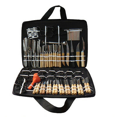 Portable 80pcs Vegetable Fruit Carving Tools Chisels Kit Set + Wood Box Peeling