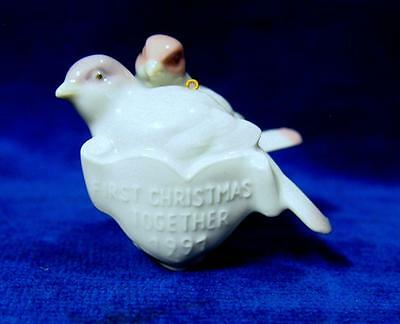 A Genuine Lladro Porcelain First Christmas Together 1991 Birds Tree Ornament