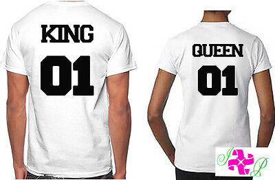 Couples Matching T-Shirts King Queen Valentines Gift His Hers Tee Anniversary