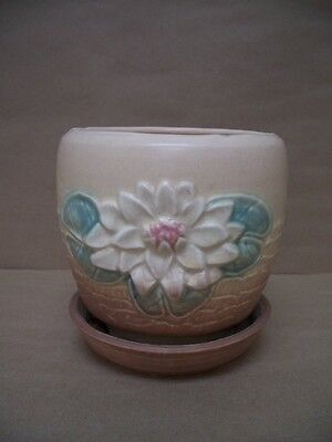 Waterlily Hull Vase with Attached Bottom Plate. Signed Hull Art. L-25-5 3/4 NICE