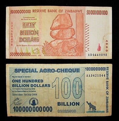 2 Zimbabwe  notes-50 billion banknote & 100 billion dollar agro cheque-currency