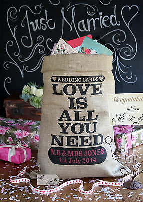 Personalised Wedding Post Box Sack, Card holder, Wishing Well, Love Is design