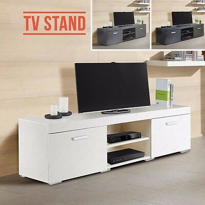 Stylish TV Cabinet Stand Unit Plasma Bench Stand with 2 Doors 2 Shelves