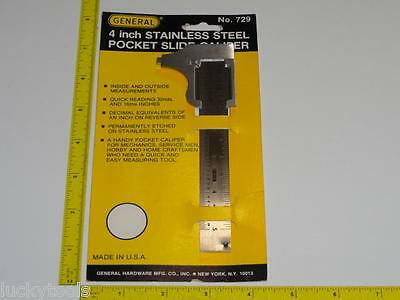 """VTG General Pocket Slide Calipers No.729 4"""" New Machinist Tool NOS Cabinetmakers"""