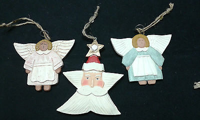 Three Christmas Decorations - Hand Carved & Painted - Primitive - Angels & Santa