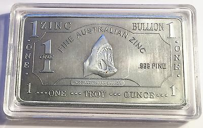 "1 Oz ""GW Shark"" 999 Solid Zinc Ingot  50mm x 28mm x 3 mm Bargain Clearance Sale"