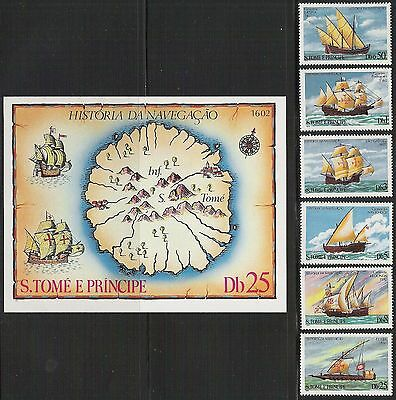 St Thomas/ Sao Tome- Scott 534-540 MNH History of Navigation, complete set & s/s