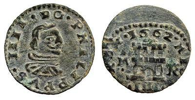 AC#BY Ancient Spain Philip IV 4 Maravedis Madrid 1662 Spain Coin