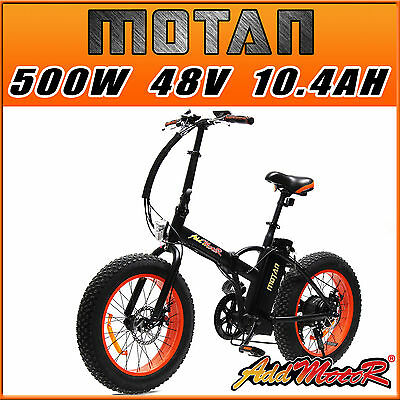 "Addmotor MOTAN FOLDING Fat Tire E-Bike 500W 20"" Mountain Bike Electric Bicycle"
