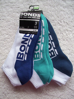 BNWT Boy's Bonds 3 Pack Low Cut Socks Shoe Sizes 13-3 & 3-8