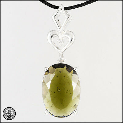 MOLDAVITE Pendant Oval Faceted Sterling Silver Amulet Czech 14x10mm 11.5CTS P146