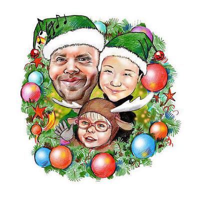 Creyons Christmas family caricature portrait from photo