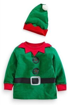 Ex Next Baby Boys Green Elf Musical Christmas Top & Hat Age 3 6 9 12 18 24 Month
