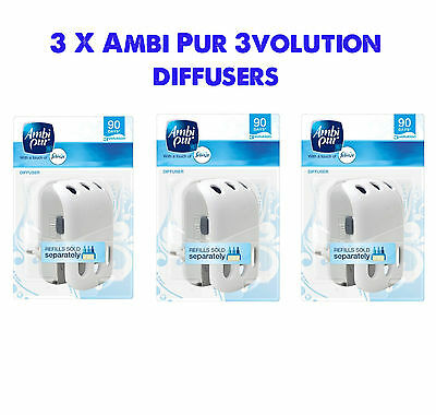 3 x AMBI PUR 3VOLUTION DIFFUSER PLUG IN AIR FRESHENER UNITS - FREE DELIVERY!
