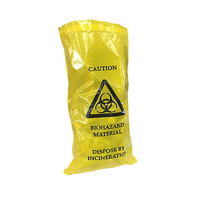 Qualicare Biohazard Clinical Waste Thick Sick Vomit Bags Self Seal 20Cm X 35Cm