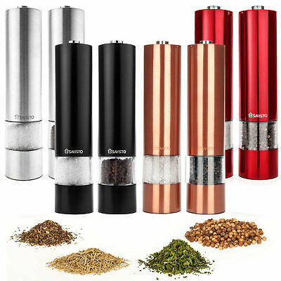 Savisto Large Stainless Steel Electronic Salt & Pepper Mill Grinder Shaker Set