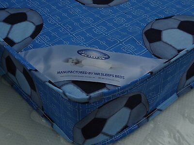 MEMORY FOAM/SPRINGS Blue Football SINGLE MATTRESS  SIZE 3FT, 2FT6 OR 2FT6 SHORTY