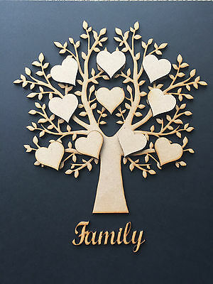 2  Wooden MDF Family Tree & hearts, weddings guestbooks, wooden trees, 002