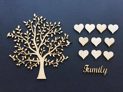 2 Wooden MDF Family Tree & hearts, weddings guestbooks, wooden trees 001
