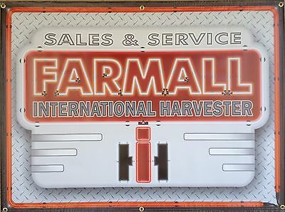 Farmall International Harvester Tractor Dealer Neon Style Banner Sign Art 4 X 3