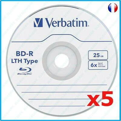 5 BD-R BDR bd-r Blu ray bluray Verbatim x6 25 Go LTH compatible swap disc ps3