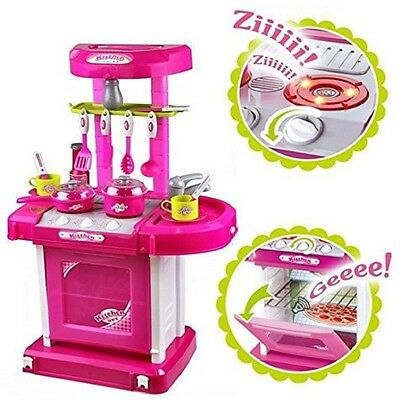 Play Set Portable Pink Children Kids Kitchen Cooking Girl Toy Electronic Cooker