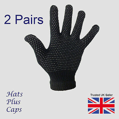 2 Pairs black Gripper thermal one size stretch magic driving gloves mens womens