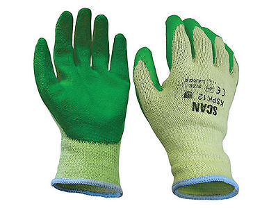 Scan Knit Shell Latex WORK GLOVES Palm Gloves Green Pack of 12 Size 10