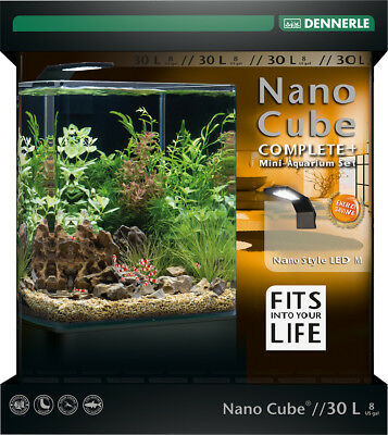 Dennerle Nano Cube 30L Complete Plus Aquarium Tank with Substrate Light & Filter