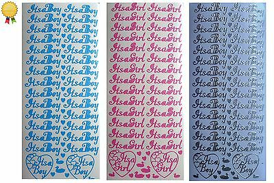 Peel Off Stickers *IT'S A BOY* - *IT'S A GIRL* New Baby, Hearts - Card Making