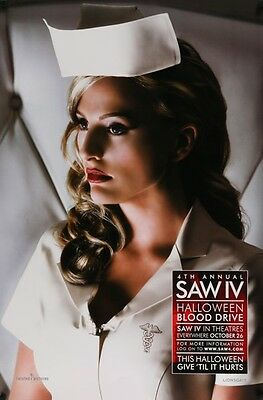 "SAW 4 -orig 27x40 Movie Poster - rare Advance BLOOD DRIVE style ""B"" - Sexy Nurse"