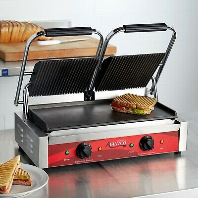 Double Grooved Top Smooth Bottom Electric Commercial Panini Sandwich Grill