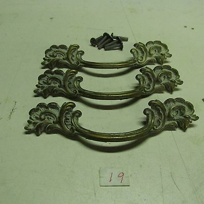 PULL HANDLES OLD VINTAGE WITH CARVED LEAVES AT BOTH ENDS (lot of 3) used