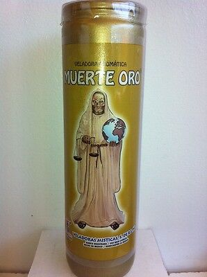 Holy Death (Santa Muerte Oro) Gold Color Prepared 7 Day Candle In Glass