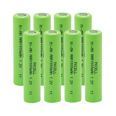 8pcsx Rechargeable AAA 1000mAh 1.2 V Ni-MH Battery PKCELL for MP3 RC Toys Camera