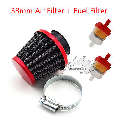 Red 38mm Air Filter Clearner Fuel For 50cc 110cc 125cc ATV Dirt Pit Bike Scooter