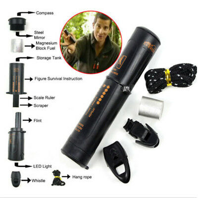 10 in 1 Flint Fire Starter Emergency Whistle Compass Survival Camping Multi Tool