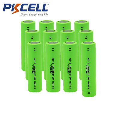 12pcs AA 1200mAh NiMH 1.2V Flat Tops Rechargeable Batteries for Soldering
