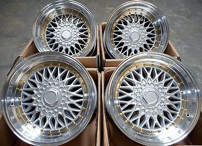 """15"""" Dare Silver Polished Alloy Wheels 4X100 Fits Bmw 3 Series E30 Vw Polo & Golf"""